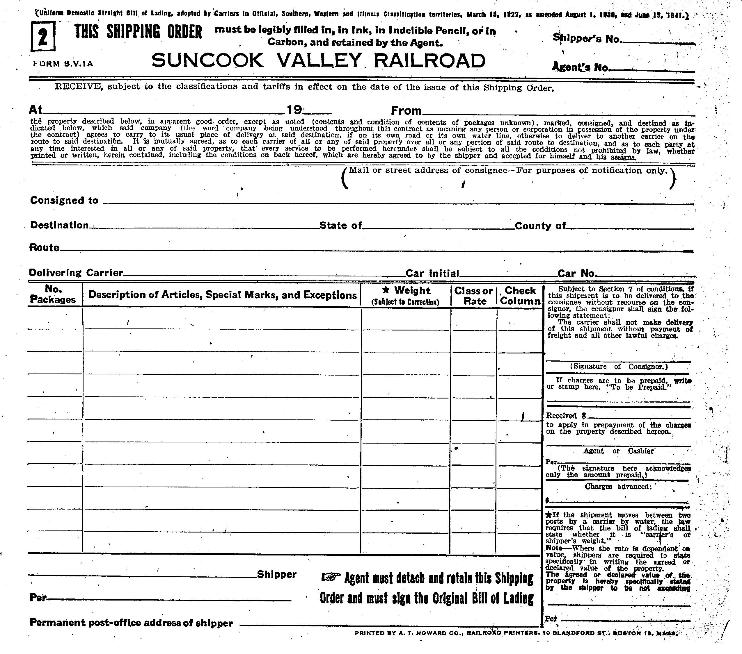 Shipping Bill Of Lading. Suncook Valley Railroad Freight Service Documents .  Blank Bill Of Lading Form Template